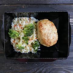 Куриная котлета с рисом и овощами